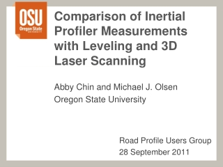 Comparison of Inertial Profiler Measurements with Leveling and 3D Laser Scanning