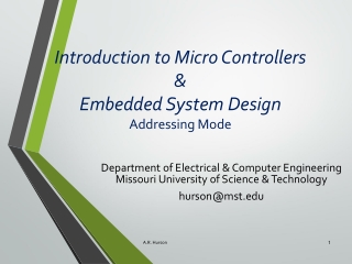 Introduction to Micro Controllers & Embedded System Design Addressing Mode