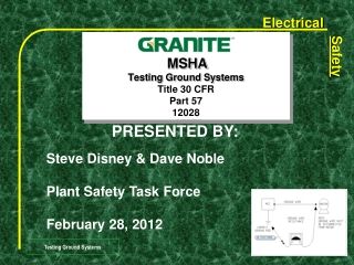 MSHA Testing Ground Systems  Title 30 CFR Part 57 12028