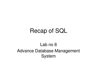 Recap of SQL