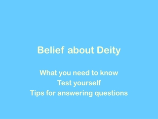 Belief about Deity