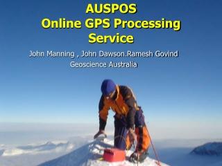 AUSPOS  Online GPS Processing Service