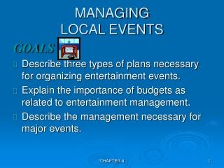 MANAGING  LOCAL EVENTS
