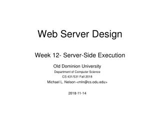 Web Server Design Week 12- Server-Side Execution