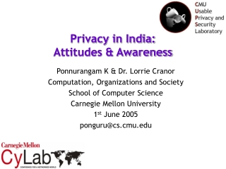 Privacy in India:  Attitudes & Awareness