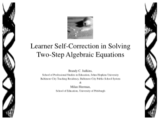 Learner Self-Correction in Solving  Two-Step Algebraic Equations