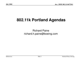 802.11k Portland Agendas