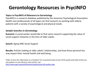 Gerontology Resources in PsycINFO