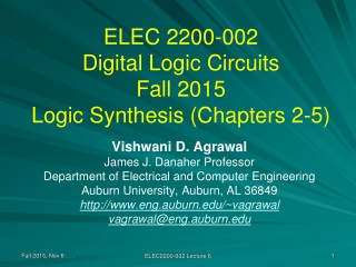 ELEC 2200-002 Digital Logic Circuits Fall 2015 Logic Synthesis (Chapters 2-5)