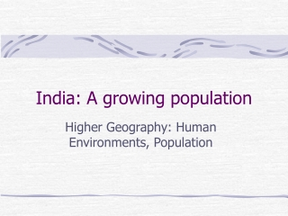 India: A growing population
