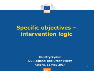 Specific objectives – intervention logic