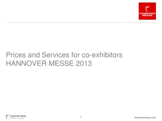 Prices and Services for co-exhibitors HANNOVER MESSE 2013