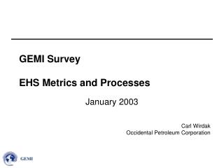 GEMI Survey EHS Metrics and Processes
