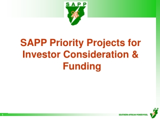 SAPP Priority Projects for Investor Consideration &  Funding
