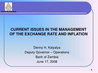 Denny H. Kalyalya Deputy Governor – Operations Bank of Zambia June 17, 2008