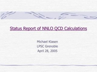 Status Report of NNLO QCD Calculations
