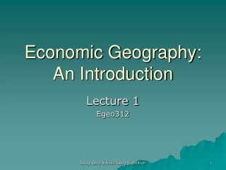 Economic Geography: An Introduction