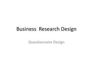 Business  Research Design