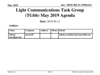 Light Communications Task Group (TGbb) May 2019 Agenda