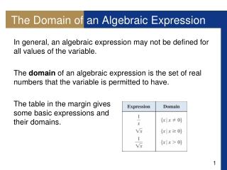 The Domain of an Algebraic Expression