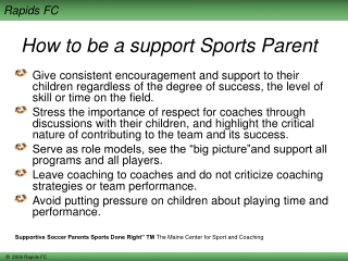 How to be a support Sports Parent