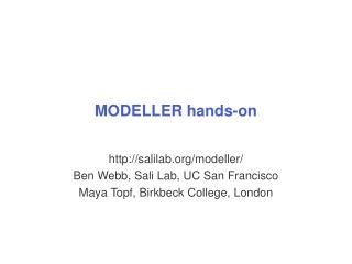 MODELLER hands-on