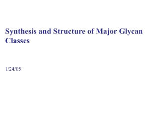Synthesis and Structure of Major Glycan Classes