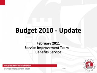Budget 2010 - Update