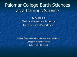 Palomar College Earth Sciences as a Campus Service