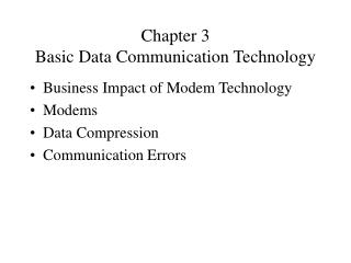 Chapter 3 Basic Data Communication Technology