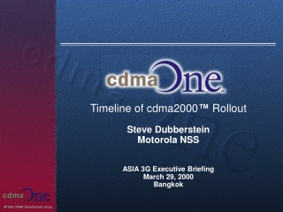 Timeline of cdma2000 ™ Rollout Steve Dubberstein Motorola NSS ASIA 3G Executive Briefing