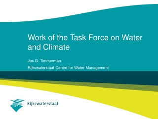 Work of the Task Force on Water and Climate