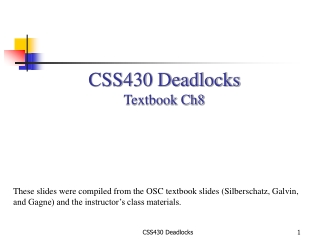 CSS430 Deadlocks Textbook Ch8