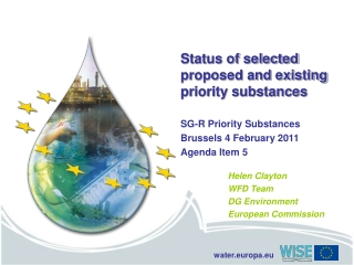 Status of selected proposed and existing priority substances