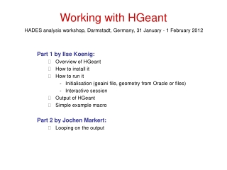 Working with HGeant