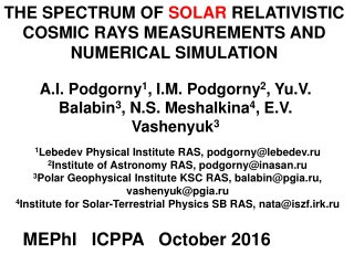 THE SPECTRUM OF  SOLAR  RELATIVISTIC COSMIC RAYS MEASUREMENTS AND NUMERICAL SIMULATION
