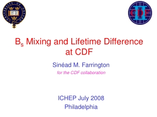 B s  Mixing and Lifetime Difference  at CDF