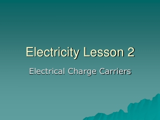 Electricity Lesson 2