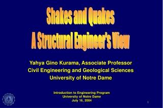 Yahya Gino Kurama, Associate Professor Civil Engineering and Geological Sciences