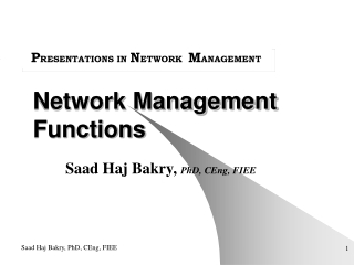 Network Management Functions