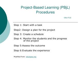 Project-Based Learning (PBjL) Procedures OSU ITLE
