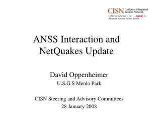 ANSS Interaction and NetQuakes Update