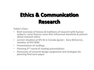 Ethics & Communication Research