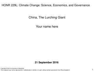 HONR 229L: Climate Change: Science, Economics, and Governance