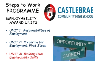 Steps to Work PROGRAMME