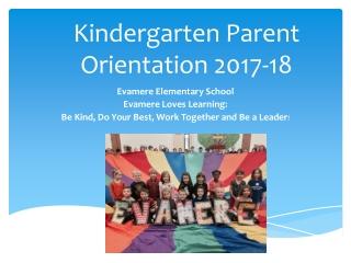 Kindergarten Parent Orientation 2017-18