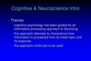 Cognitive & Neuroscience Intro