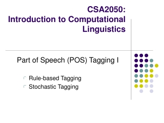 CSA2050: Introduction to Computational Linguistics