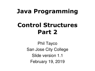 Java Programming Control Structures Part 2