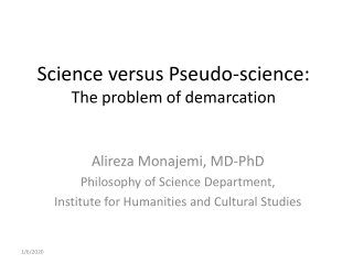 Science versus Pseudo-science: The problem of demarcation